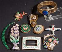 VINTAGE COSTUME JEWELRY LOT OF TEN PIECES