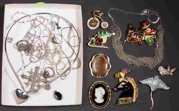 ASSORTED STERLING AND COSTUME JEWELRY