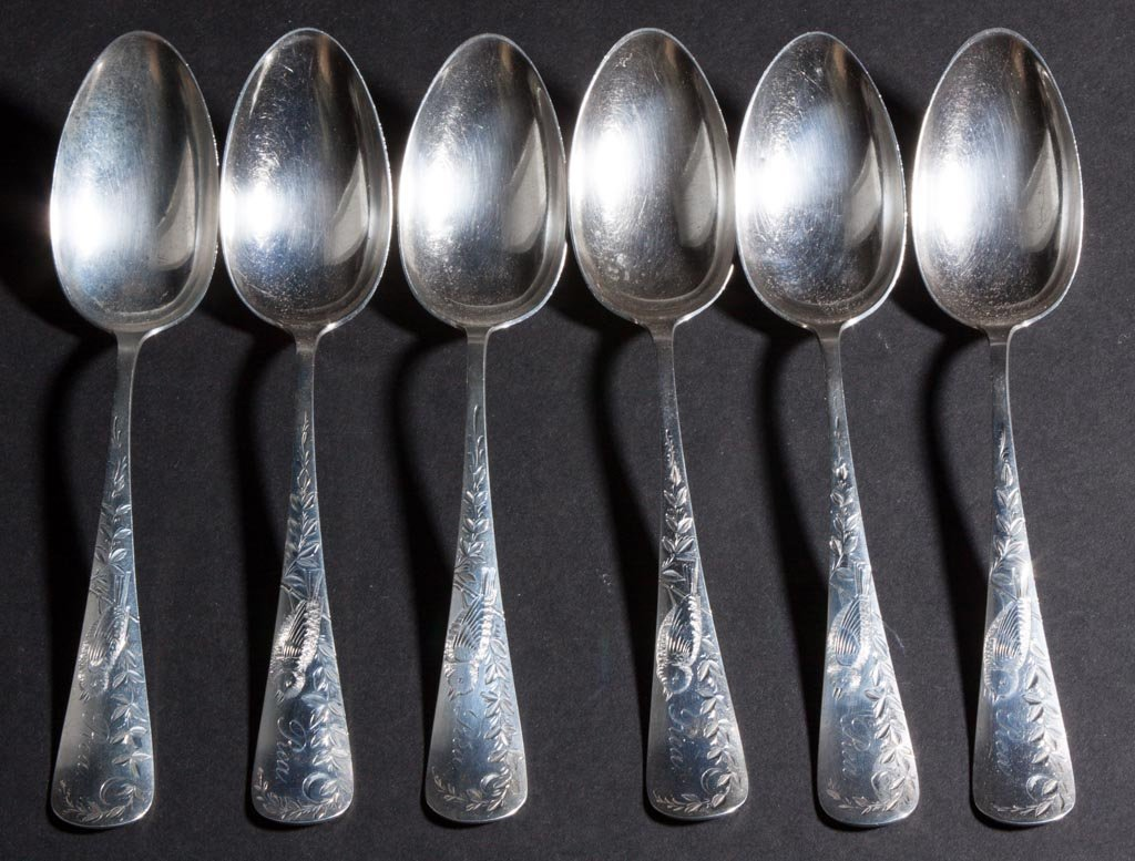 GORHAM STERLING SILVER TABLE SPOONS, SET OF SIX