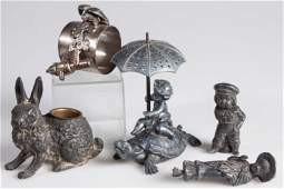 VICTORIAN SILVER-PLATED FIGURAL ARTICLES, LOT OF FIVE