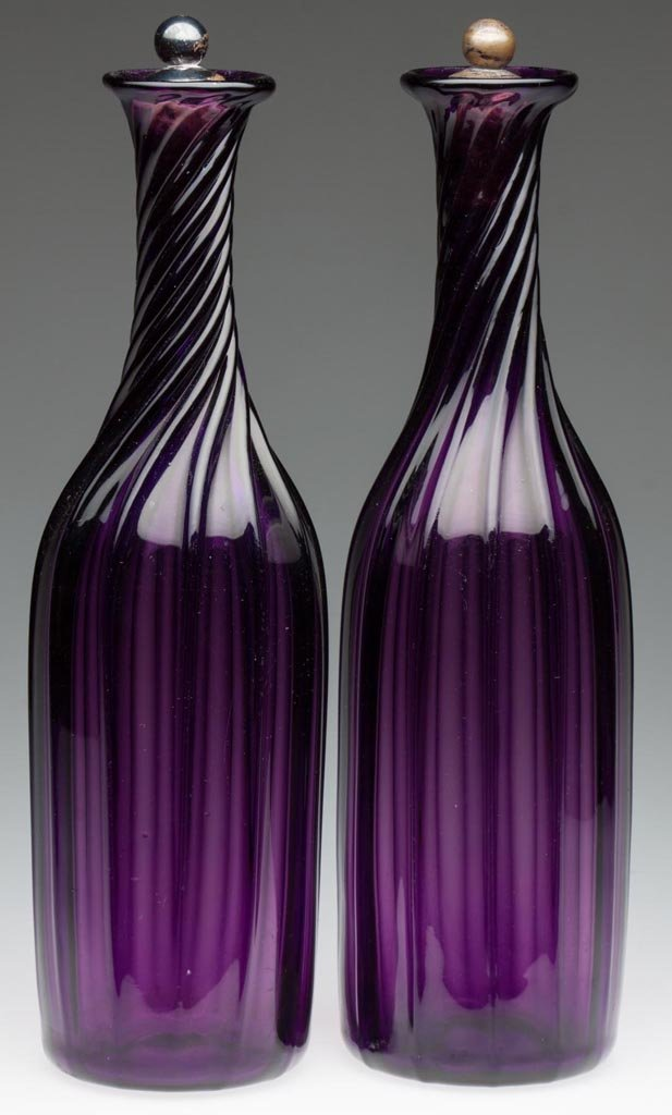 SWIRLED PILLAR-MOLDED PAIR OF DECANTERS