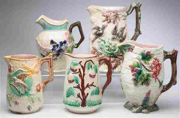 VICTORIAN MAJOLICA PITCHERS, LOT OF FIVE INCLUDING TWO