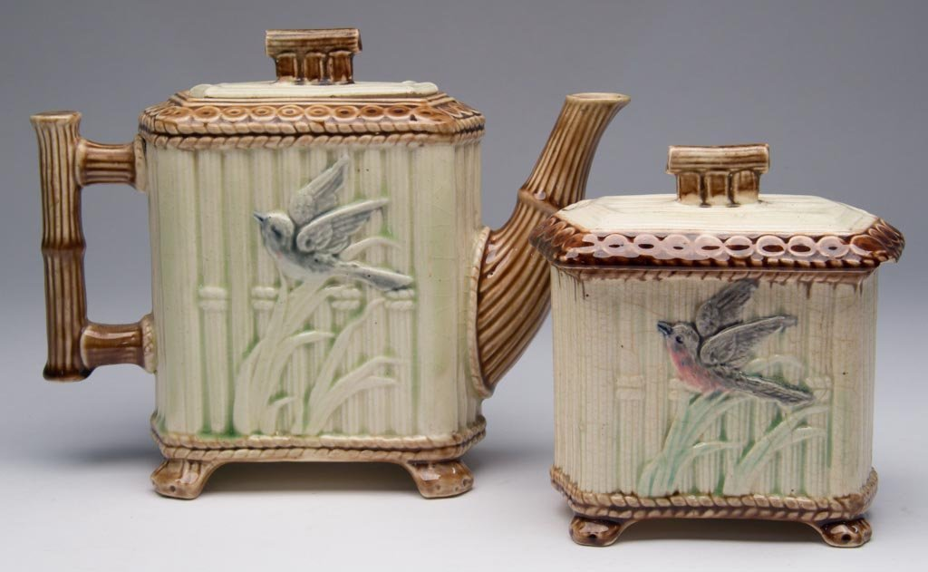 VICTORIAN MAJOLICA ARTICLES, LOT OF THREE INCLUDING A T