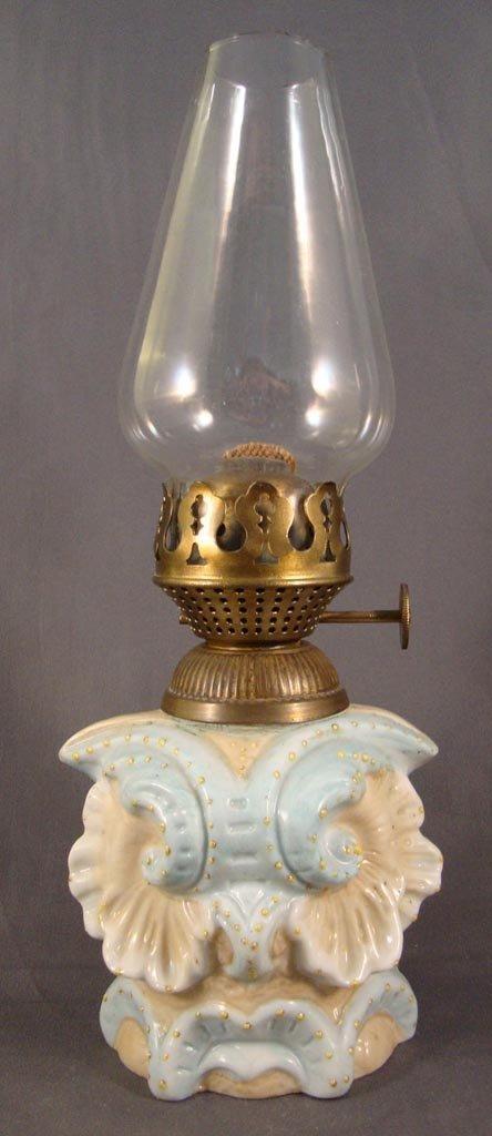 PORCELAIN OWL HEAD FIGURAL MINIATURE LAMP