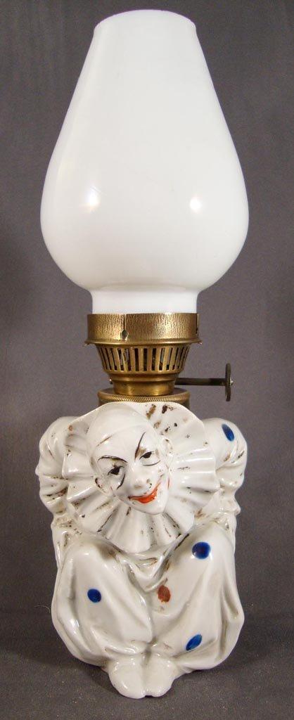 PORCELAIN CLOWN FIGURAL MINIATURE LAMP