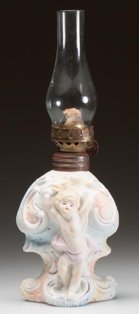 BISQUE CHERUB FIGURAL MINIATURE LAMP