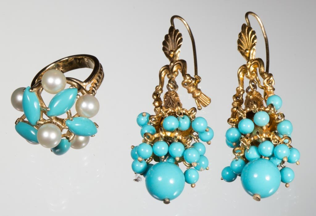 TURQUOISE AND 14K GOLD JEWELRY