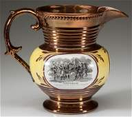 ENGLISH STAFFORDSHIRE COPPER LUSTER POTTERY AMERICAN