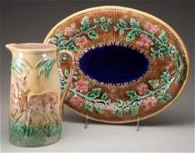 MAJOLICA POTTERY OVAL PLATTER AND PITCHER