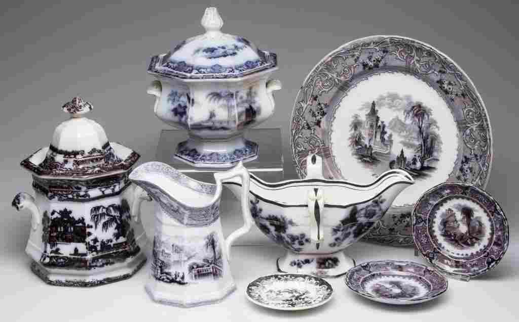 STAFFORDSHIRE PRINTED TRANSFERWARE ARTICLES, LOT OF