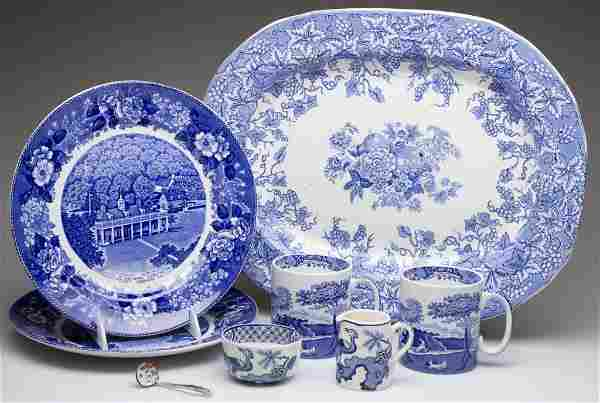 ENGLISH STAFFORDSHIRE POTTERY TABLE ARTICLES, LOT OF