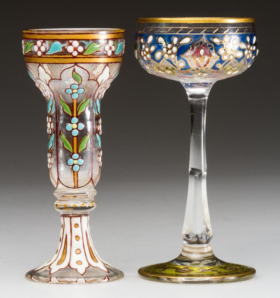 BOHEMIAN MOSER-STYLE DECORATED CORDIALS, LOT OF TWO