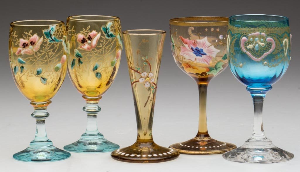 BOHEMIAN MOSER-STYLE DECORATED CORDIALS, LOT OF FIVE