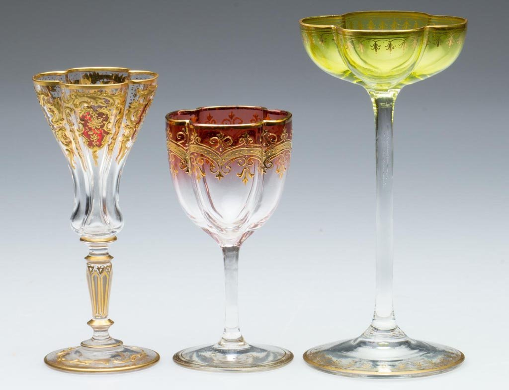 BOHEMIAN MOSER-STYLE DECORATED WINES / CORDIALS, LOT OF