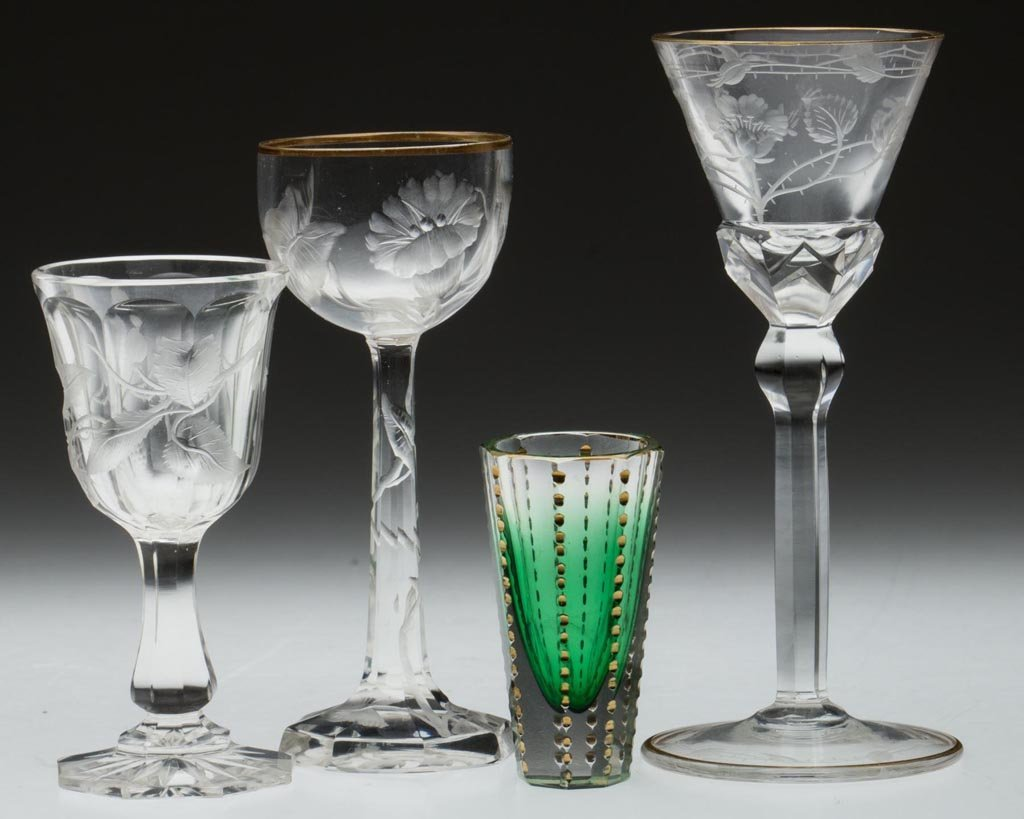 BOHEMIAN MOSER-STYLE ENGRAVED / CUT DRINKING VESSELS,