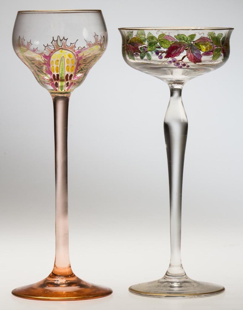 AUSTRIAN ENAMELED CORDIALS, LOT OF TWO