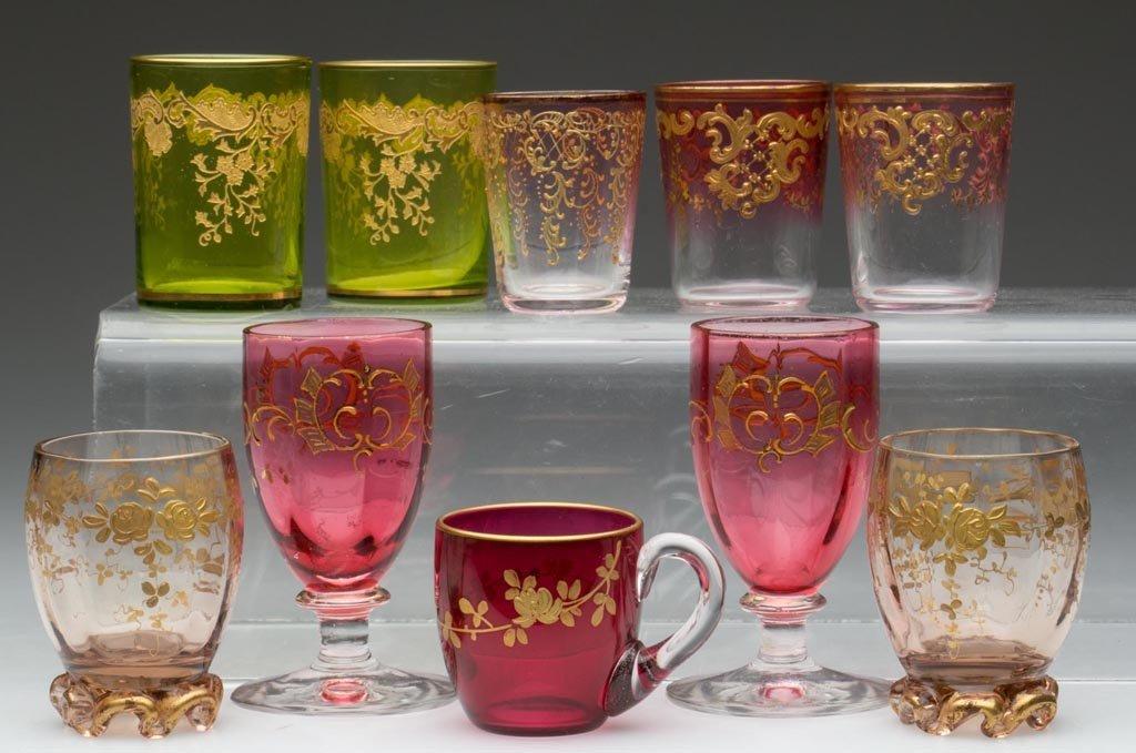 ASSORTED CONTINENTAL GILT-DECORATED LIQUOR GLASSES, LOT