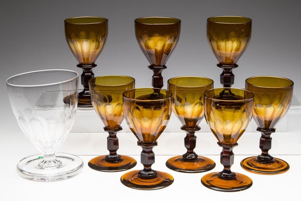 FREE-BLOWN AND CUT WINE GLASSES, SET OF EIGHT