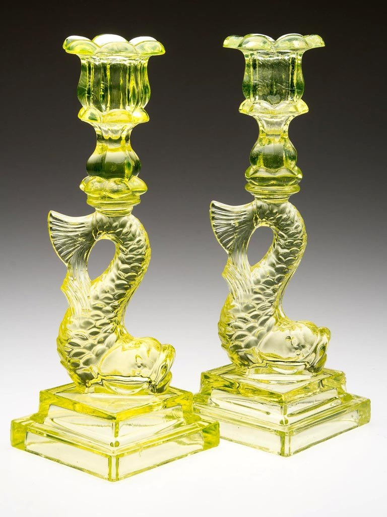 PRESSED DOLPHIN DOUBLE-STEP PAIR OF CANDLESTICKS