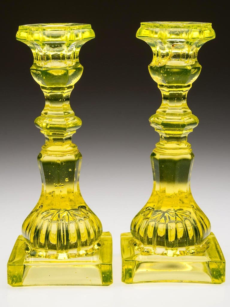 PRESSED HEXAGONAL AND SQUARE PAIR OF CANDLESTICKS