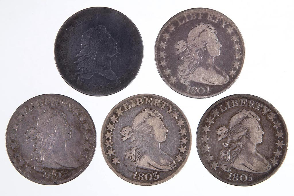 UNITED STATES SILVER FLOWING HAIR AND DRAPED BUST HALF