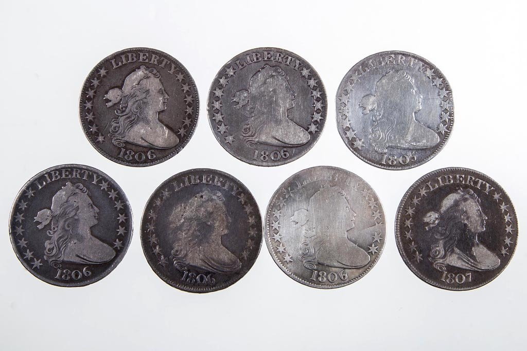 UNITED STATES SILVER DRAPED BUST HALF DOLLAR COINS, LOT