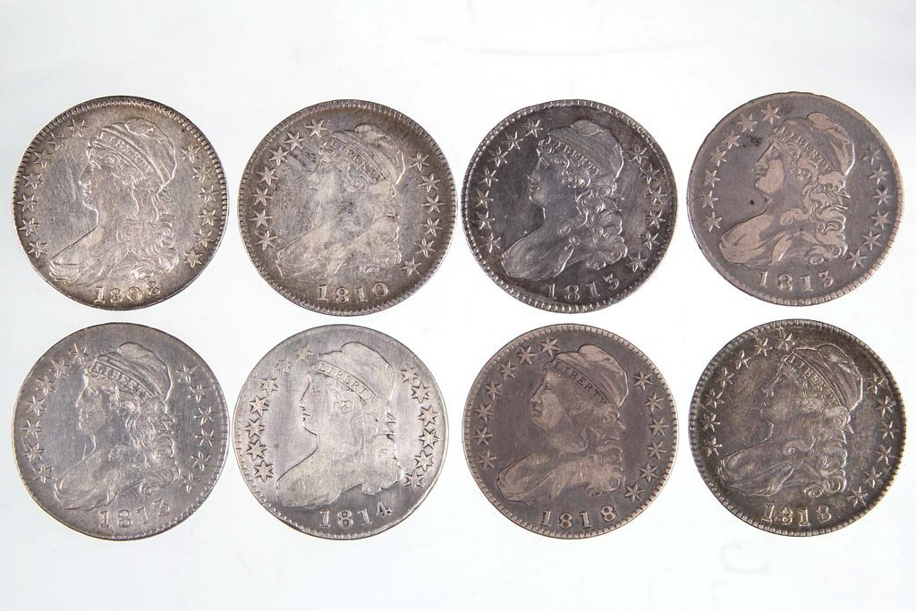 UNITED STATES SILVER CAPPED BUST HALF DOLLAR COINS, LOT