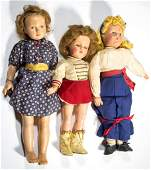 EFFANBEE COMPOSITION CHARACTER DOLLS LOT OF THREE