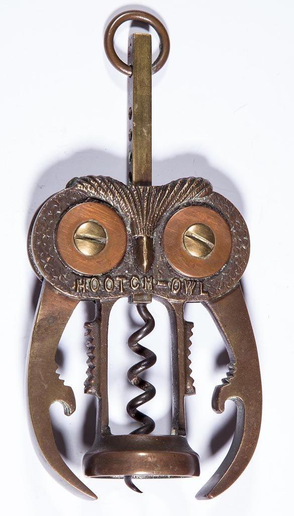 """HOOTCH-OWL"" FIGURAL CAST-BRASS COMBINATION CORKSCREW /"