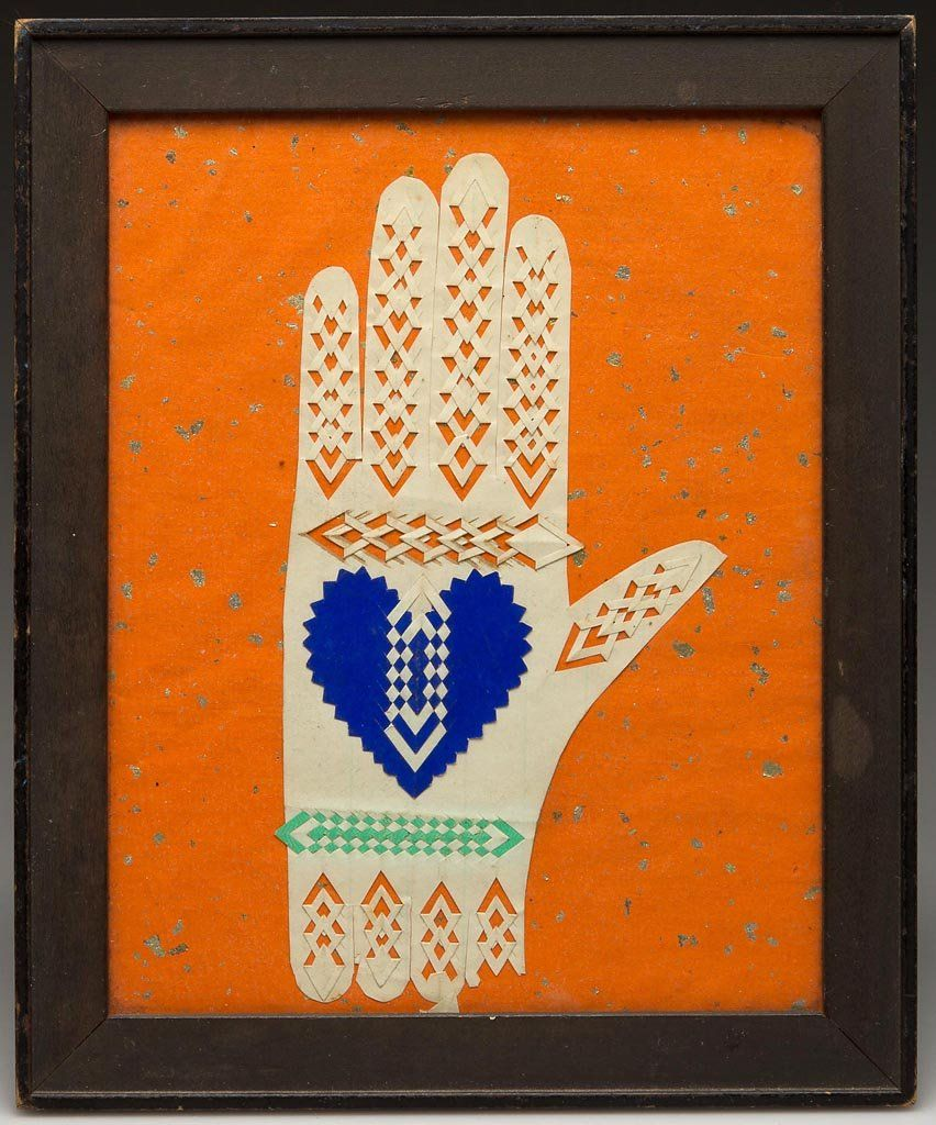 AMERICAN CUT-AND-WOVEN PAPER HEART-IN-HAND LOVE TOKEN