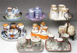 ASSORTED CERAMIC COMBINATION CONDIMENT SETS LOT OF