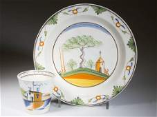 ENGLISH STAFFORDSHIRE POTTERY PEARLWARE RIMMED SOUP