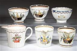 ENGLISH STAFFORDSHIRE POTTERY PEARLWARE TABLE ARTICLES,