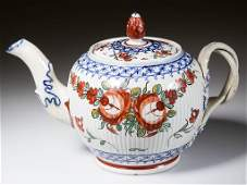 ENGLISH STAFFORDSHIRE POTTERY PEARLWARE TEAPOT AND
