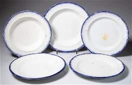 ENGLISH STAFFORDSHIRE POTTERY PLATES, LOT OF FIVE