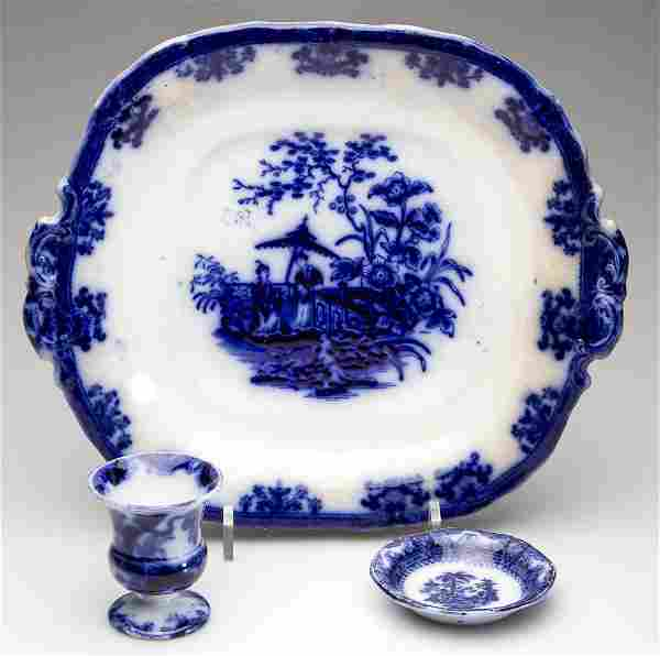 ENGLISH IRONSTONE POTTERY FLOW BLUE TABLE ARTICLES, LOT