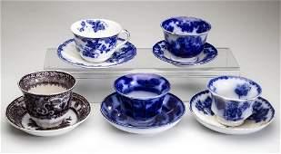ENGLISH IRONSTONE POTTERY TEA BOWL AND SAUCER SETS, LOT