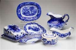 ENGLISH POTTERY AND IRONSTONE FLOW BLUE TABLE ARTICLES,