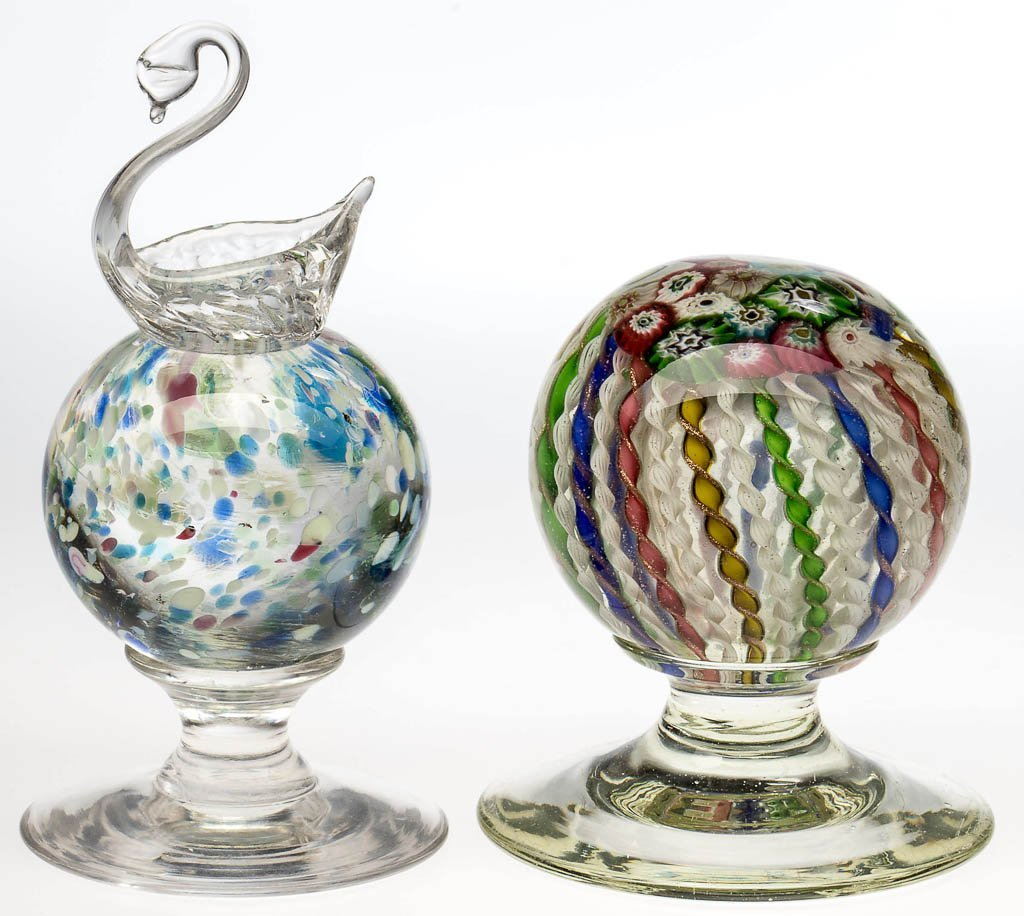 ART GLASS PEDESTAL PAPERWEIGHTS, LOT OF TWO