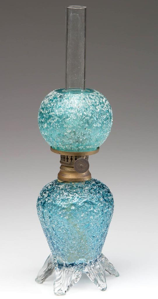 VERY RARE VICTORIAN OVERSHOT ART GLASS MINIATURE LAMP