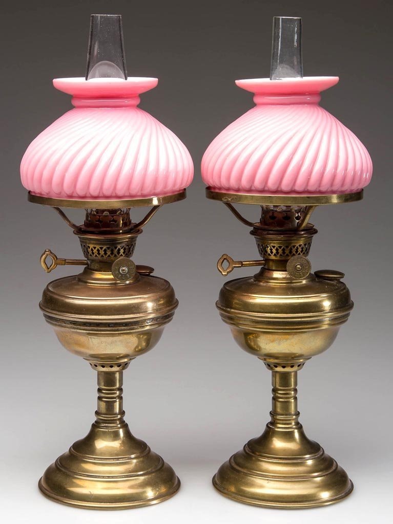 PAIR OF BRASS MINIATURE LAMPS