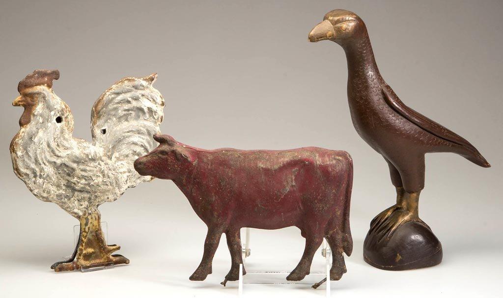 ASSORTED FOLK ART ANIMAL FIGURES, LOT OF THREE