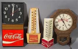 COCACOLA ADVERTISING CLOCKS AND THERMOMETERS LOT OF