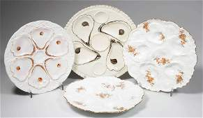 CONTINENTAL PORCELAIN OYSTER PLATES LOT OF FOUR