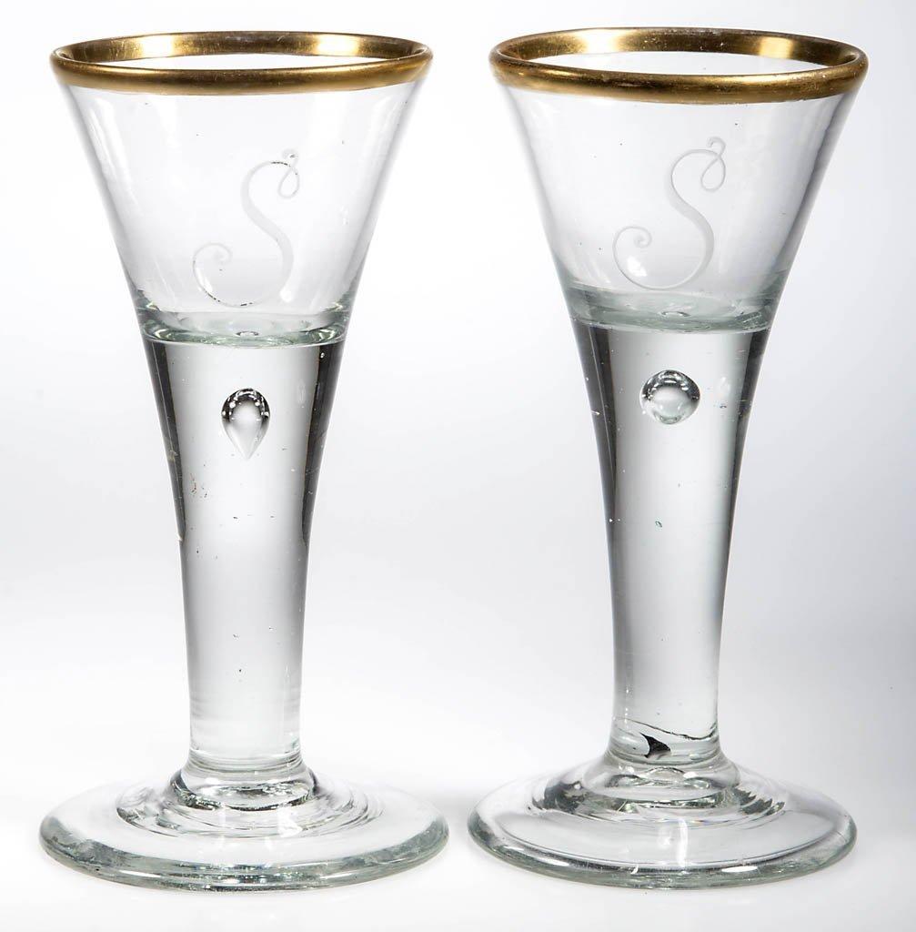 SIGNED LAUENSTEIN FREE-BLOWN WINE GLASSES, PAIR