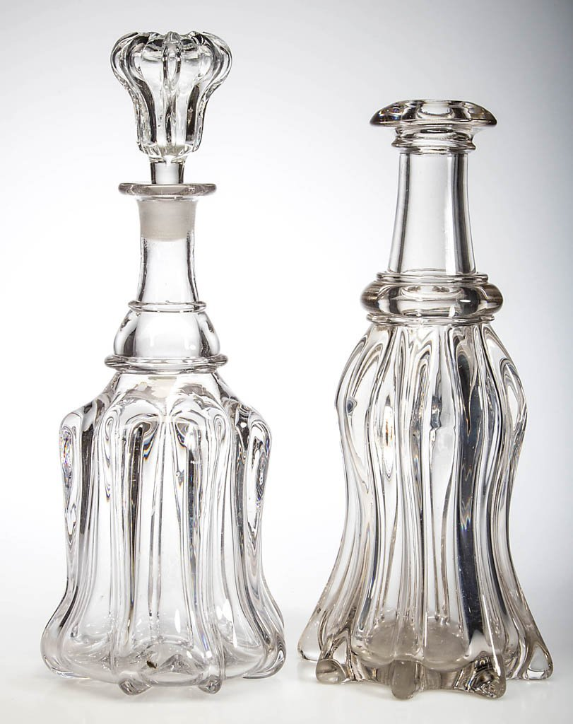 PILLAR-MOLDED QUART DECANTERS, LOT OF TWO