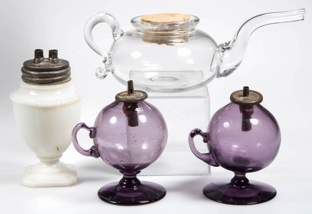 FREE-BLOWN WHALE OIL LAMPS AND ACCESSORIES, LOT OF