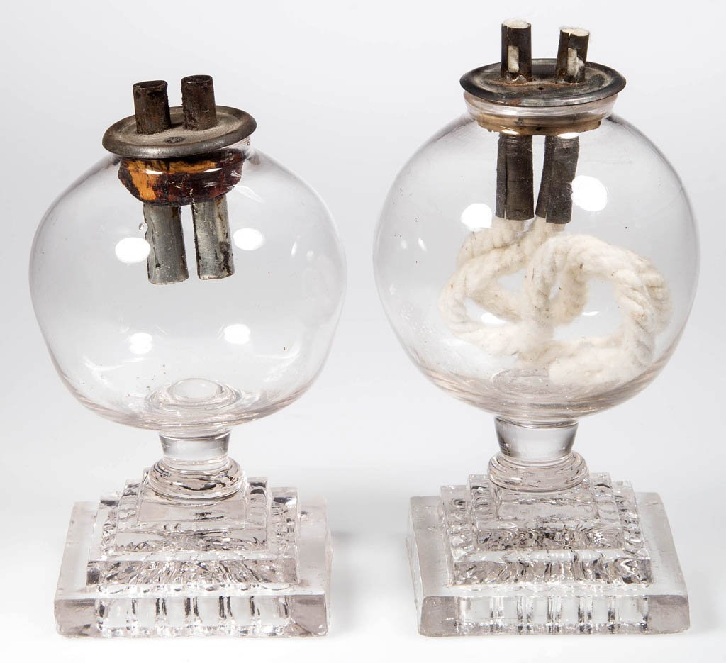 FREE-BLOWN AND PRESSED WHALE OIL SPARKING LAMPS, NEAR