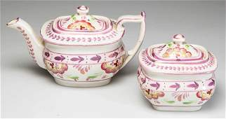 ENGLISH STAFFORDSHIRE POTTERY MINIATURE TEAPOT AND