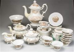 ENGLISH STAFFORDSHIRE PORCELAIN RIDGWAY PARTIAL TEA AND